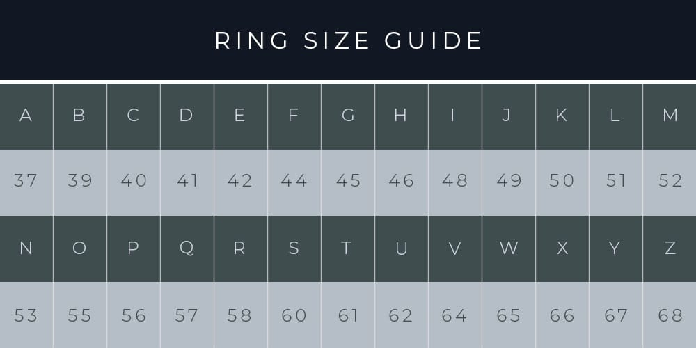 Joshua James ring size guide.