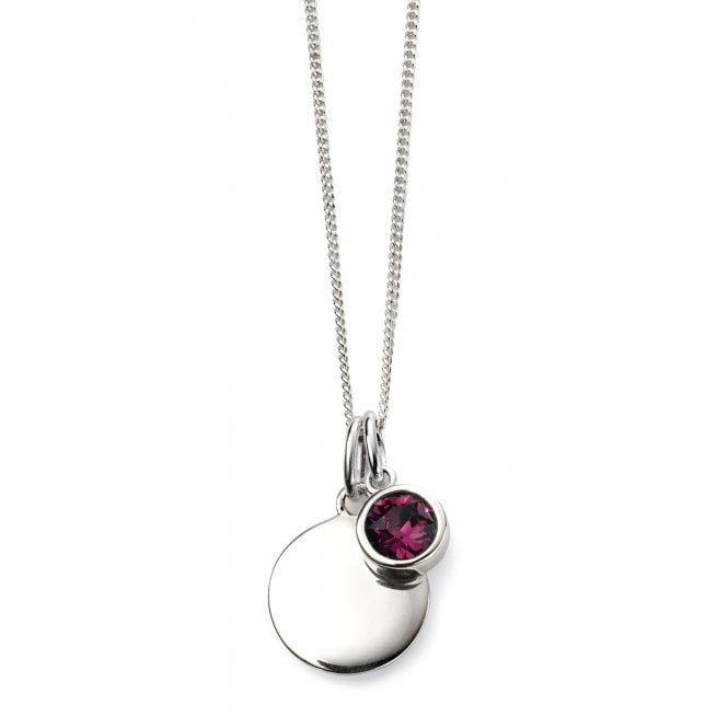 Joshua James silver necklace with engravable disc pendant and Swarovski amethyst crystal pendant