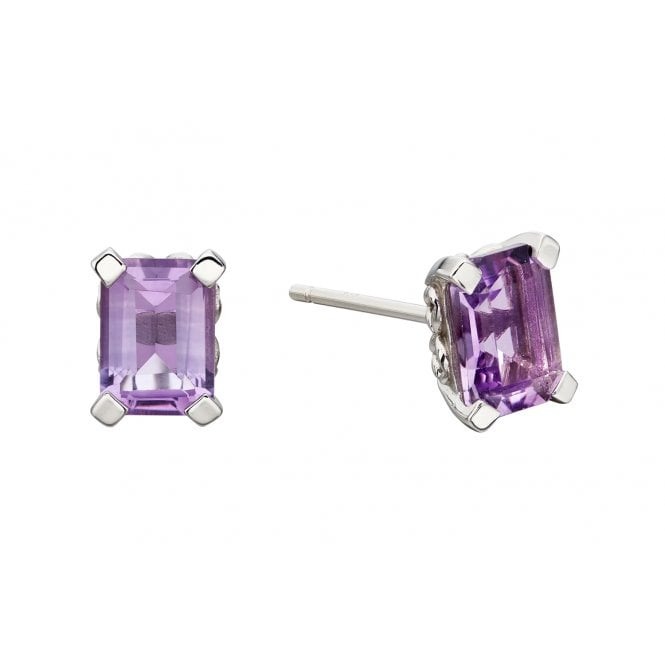 Simple rectangle stud earrings with purple amethysts claw-set in 9ct white gold