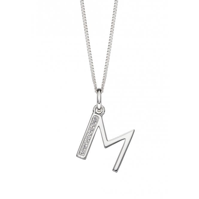 Joshua James silver necklace with letter 'M' pendant in art deco style with cubic zirconia embellishment