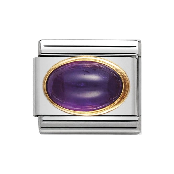 Stainless steel Nomination link with oval amethyst gemstone framed by 18k yellow gold