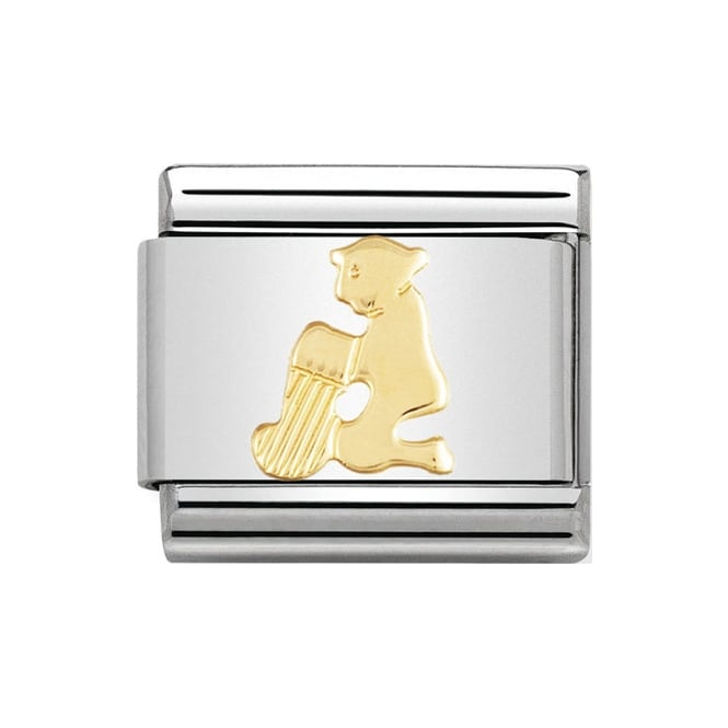 Stainless steel Nomination charm with 18k gold symbol of the Aquarius water-carrier