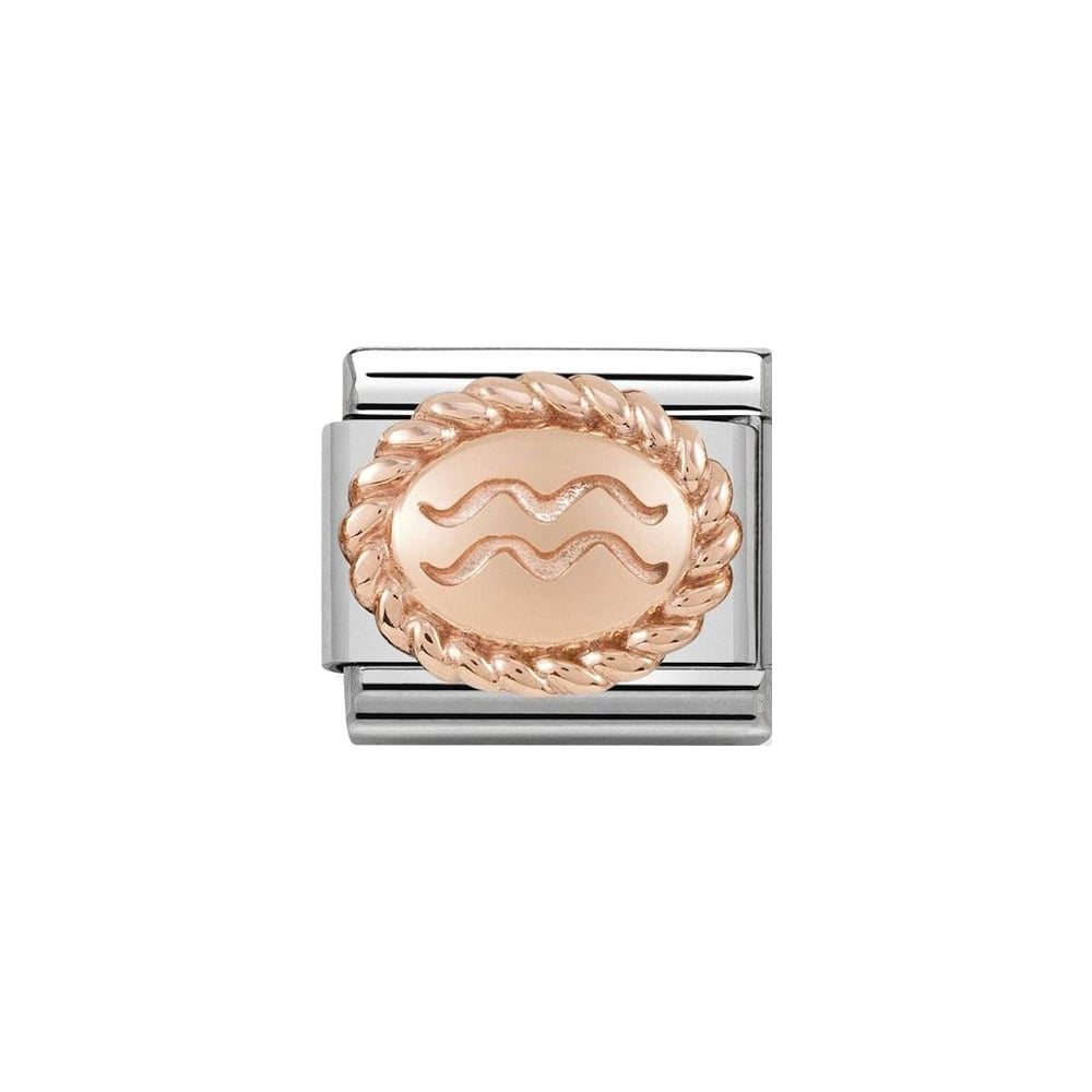 Stainless steel Nomination link with 18k rose gold oval engraved with Aquarius zodiac symbol