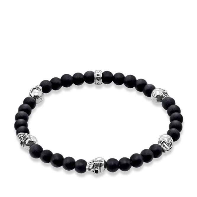 Thomas Sabo men's bracelet made from black obsidian beads and sterling silver skulls.