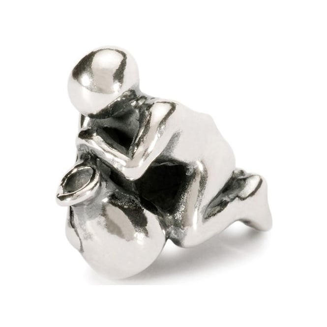 Trollbeads Silver Bead depicting the Water-Bearer, Aquarian symbol of the zodiac from Greek myths