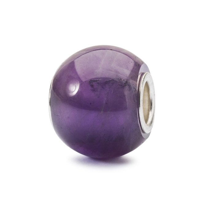 Simple round bead by Trollbeads made from sterling silver and natural purple amethyst