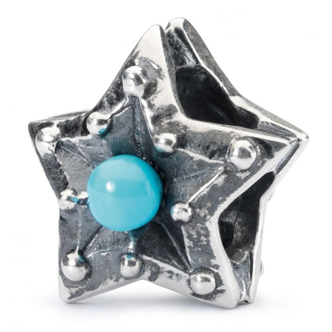 Trollbeads sterling silver bead in shape of a star with turquoise stone at centre