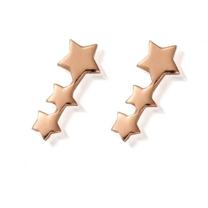 Slow Fashion ChloBo Rose Gold Earrings Featuring Three Stars in a Row
