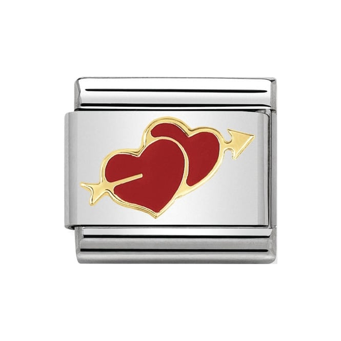 A double heart with arrow Nomination charm