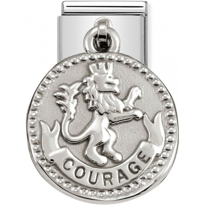 A dangling 'courage' with lion motif Nomination charm