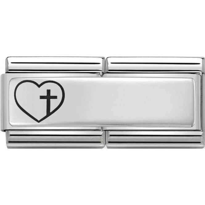 An engravable Nomination charm with a heart and cross on